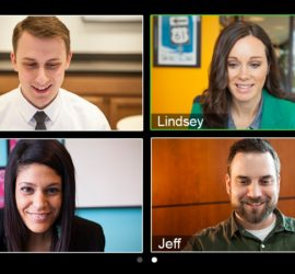 Four screens of video conferencing