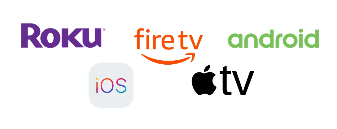 image of appleTV, roku, amazon fire, android, and ios logos